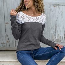 Women O-neck Long Sleeve Top Casual Lace Patchwork T-Shirt Autumn Solid Loose Tops Tees