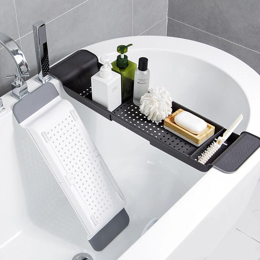 Adjustable Bathtub Tray Shower Wine Glass Book Holder
