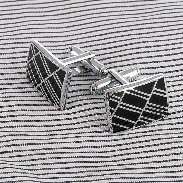Stainless Steel Silver Vintage Men's Square Grid CuffLink