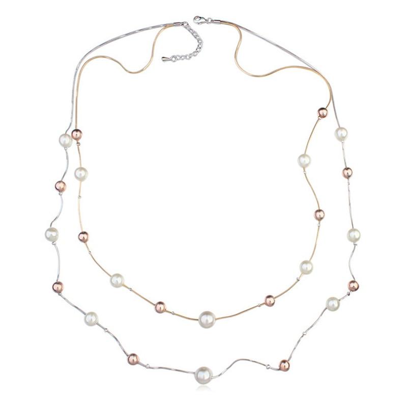 Double Couche Multi-Strand perles de verre Chic Bijoux Collier Chaîne Réglable