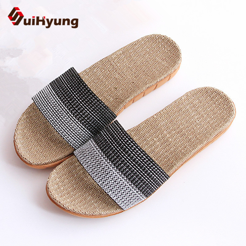 Suihyung Plus Size 2018 New Men's Linen Slippers Classic Stripes Flat Shoes Home Non-slip Floor Slippers Male Beach Flip Flops