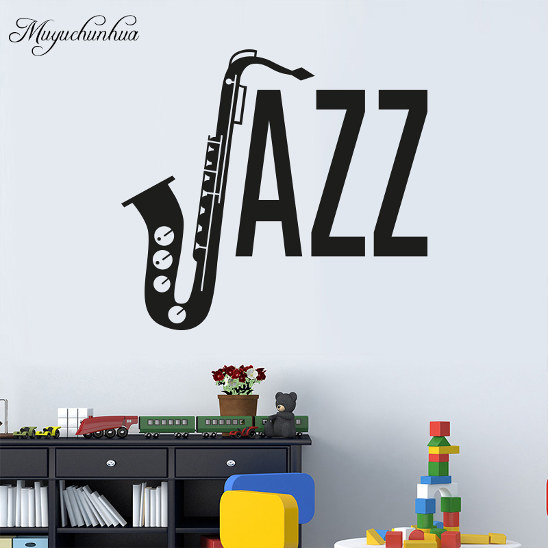 Muyuchunhua SAX Jazz Sign Art Wall Sticker Music Room Decoration Wall Decals Musical Instrument Nursery Home Decor Stickers