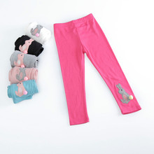 Girls warm Autumn Winter Cotton Leggings Bunny Rabbit Cartoon design for Girl Dress bottom Candy Color Size for 3,4,5,6,7 Years