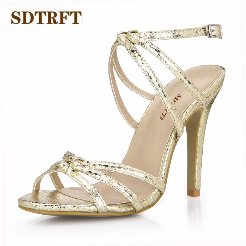 Heels Radient Sdtrft Zapatos Mujer Summer Sexy Buckle Sandals 10cm Thin High Heels Peep Toe Wedding Shoes Woman Gold Sliver Snakes Print Pumps Delicacies Loved By All