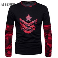 NIBESSER Brand Patchwork Camouflage T Shirts Men Long Sleeve O Neck Tee Top Fitness Printed Tees