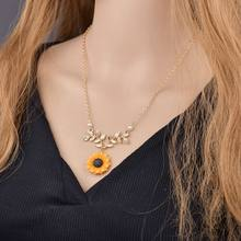 2019 Hot Fashion yellow Sunflower Pendant Necklace for Women Imitation Pearl Necklace Jewelry Clothes Accessories Drop shipping(China)