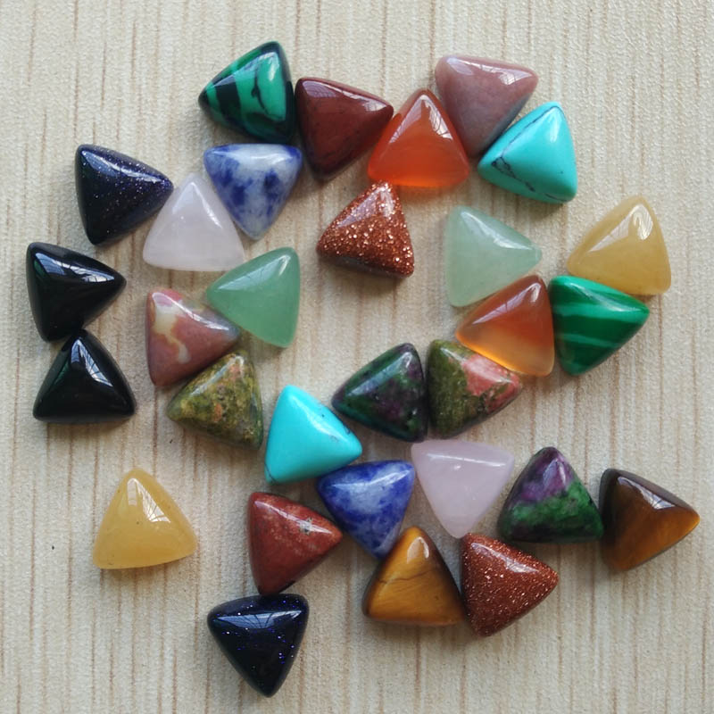 2017 fashion assorted natural stone triangle cab cabochon beads for jewelry Accessories 10x10x10mm wholesale 50pcs/lot free