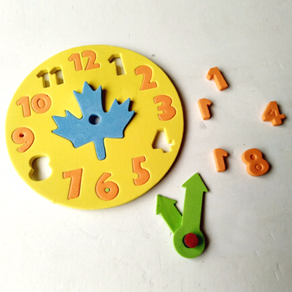 1PCS Children 3-6 Years Old Clock Learning Toys Foam Clock Early Education Fun Jigsaw Puzzle Game