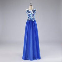 In stock size 2 4 6 8 10 12 14 16 blue embroidery long celebrity dresses printed flowers red carpet dresses