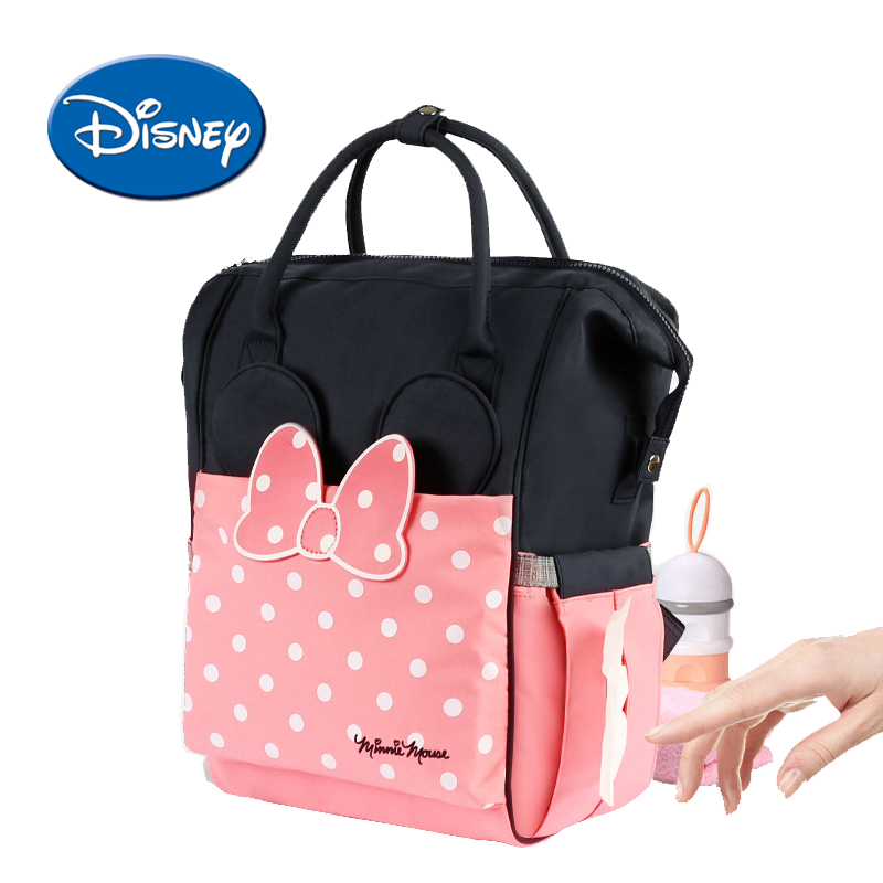 Disney Maternity Diaper Bag USB Heating Nappy Backpack Large Capacity Toddler Nursing Travel Backpack Heat Preservation