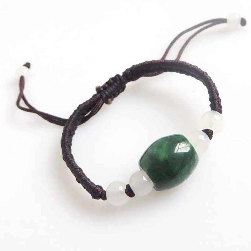 1PCS Brown Braid Leather Natural Stone Beads Charms Wristband Bracelet Adjustable Simple Style