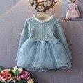 2017 Otoño nuevas chicas Coreanas vestido de primavera niños del bebé sólido suéter de color neto de costura vestido
