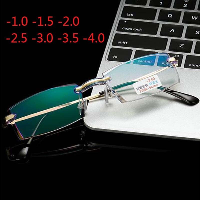 Gold Frame Men Rimless Coating Eyeglasses Finished Myopia Women Anti-blue Light Prescription -1.0 -1.5 -2.0 -2.5 -3.0 -3.5 -4.0