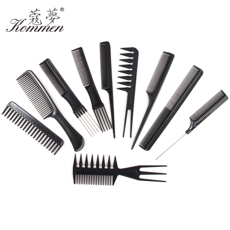 10 Style Anti-static Hairdressing Detangle Straight Hair Brushes Barber Hair Cutting Salon Black Hair Brush Slim Line Teasing