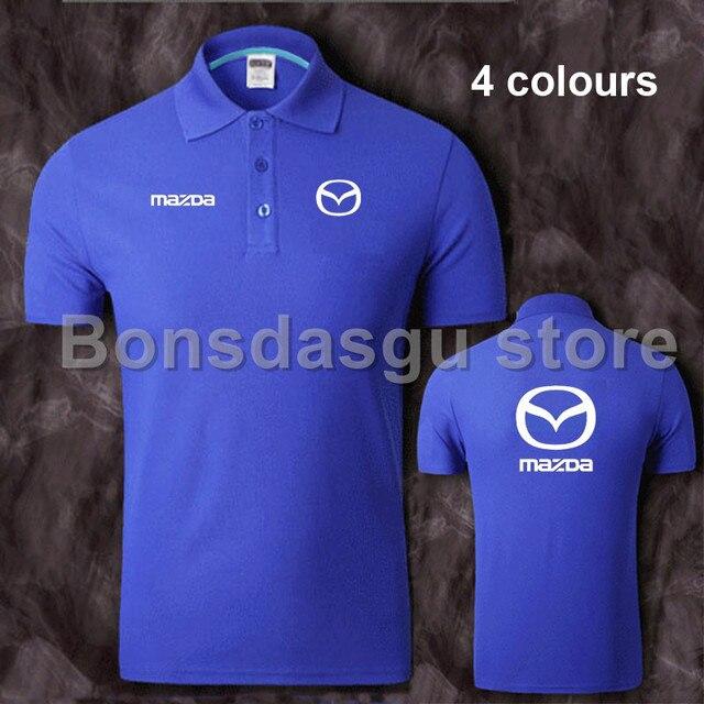 Summer Short Sleeved Polo Shirt Cotton Mazda Car Standard Lapel Work