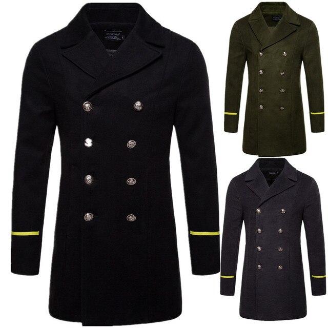 Осень-зима Для мужчин Тонкий шерстяной пальто мода Англия Стиль Для мужчин отложной воротник Длинные Стиль ветровка пальто для 2018 Новый