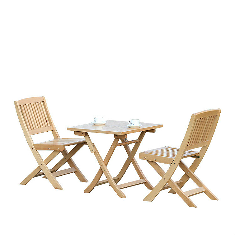 Outdoor Portable Table And Chair Set Household Solid Wood Balcony Leisure Chair Foldable Garden Tables And Chair Combination
