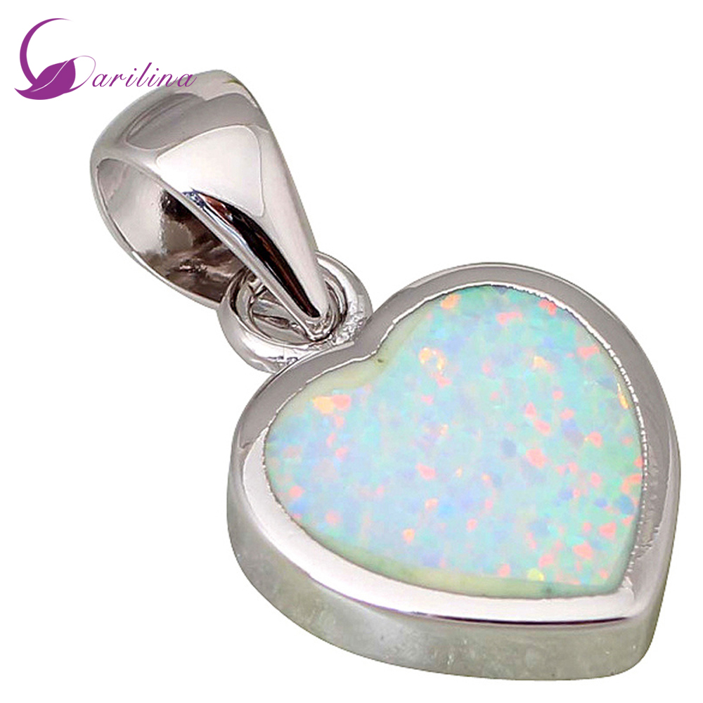 High quality suppliers 925 sterling silver jewelry Fashion Jewelry Heart White Fire Opal pendants P040