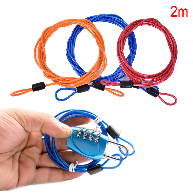 2x Bike Security Loop Cable Lock Chain Anti-theft Steel Core Lightweight 100cm