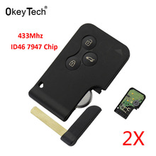 OkeyTech 2pcs/lot Smart Key Card for Renault Megane II Scenic II Grand Scenic 2003 2004 2005-2008 433mhz ID46 PCF7947 3 Buttons