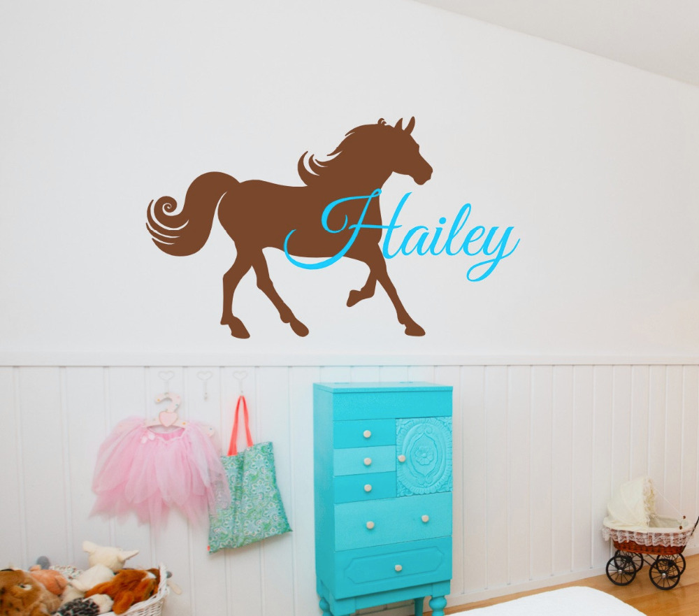 Personalized Name Horse Wall Stickers For Kids Room Boys Girls Bedroom- Custom Horse Baby Wall Decal Vinyl DIY Wall Art A279