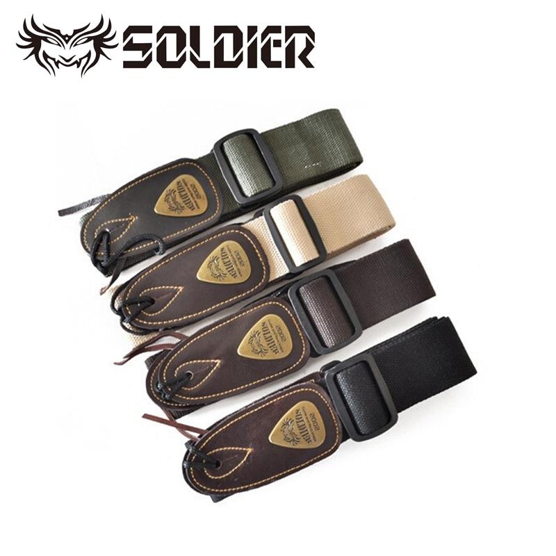 Hochwertiger Soldat Baumwolle Kunstleder Kopf Gitarrengurt E-Gitarrengurt Bassgurt Komfortable Baumwolle mit Lederenden