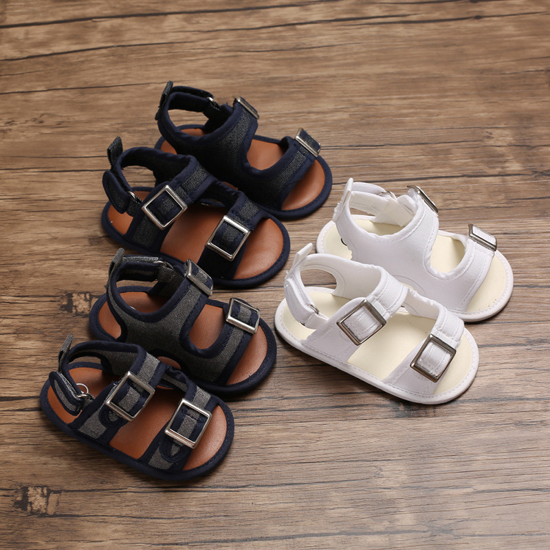 Explosion Models Summer Male Baby Canvas Solid Color Soft Bottom Non-slip Buckle  Baby Toddler Shoes