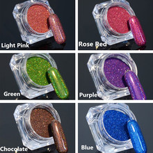 1.5g 1 Box Holographic Glitter Laser Powder Gorgeous Nail Glitter Chrome Pigment for DIY Nail Art Decorations 6 Colors Available