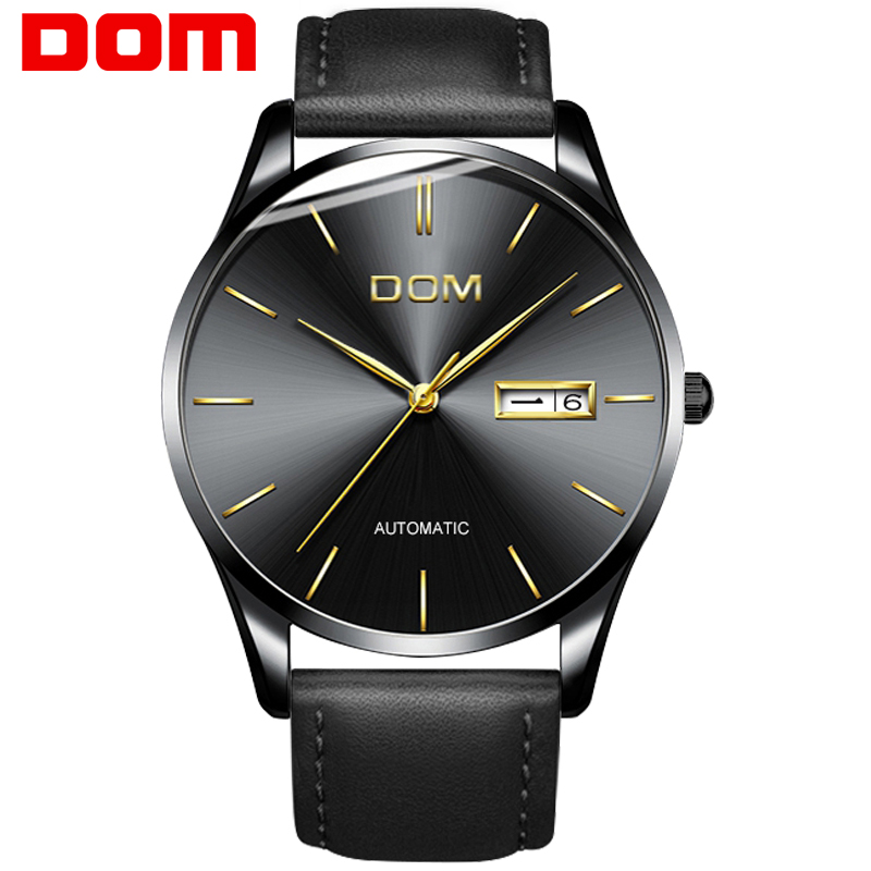 Men&#39s watch New DOM Top Luxury Brand real leather sport watch Mechanical Wristwatches waterproof relogio masculino M-89BL-1M