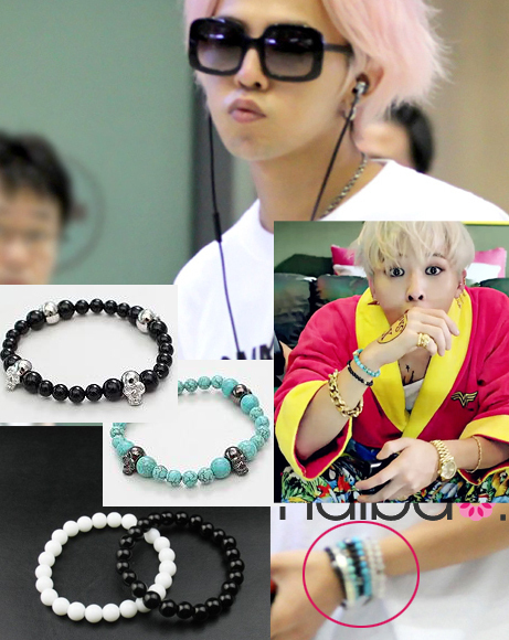 Bang G Dragon Crayon White Beads Agate Bracelet Skull Piece Set