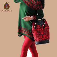 Naxi.Hani brand Ethnic embroidery genuine leather women Backpack Vintage Fashion classic Cow leather casual Bucket Bags