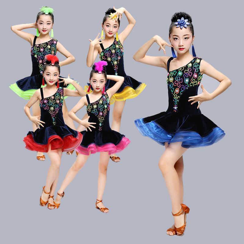Соблазнительный бархатный латинский костюм для танцев, платье для соревнований, Одежда для танцев сальсы, танго, Детские бальные платья для девочек