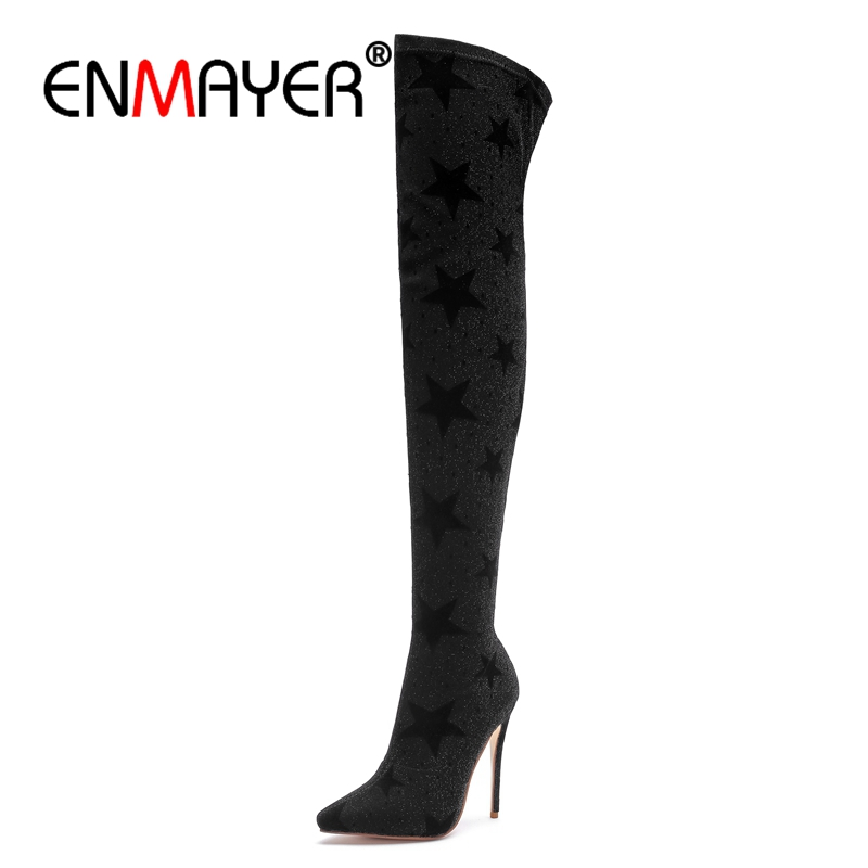 ENMAYER Female Over-the-Knee boots Winter Fashion Shoes Long Boots Super High heels Pointed toe Thin heels Shoes Women CR714 enmayer high heels pointed toe spring