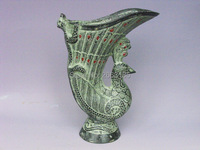 Chinese Antique Bronze Imitation Lucky Phoenix Bird Cup Carven Tiger Jue Mascot Living Room Home