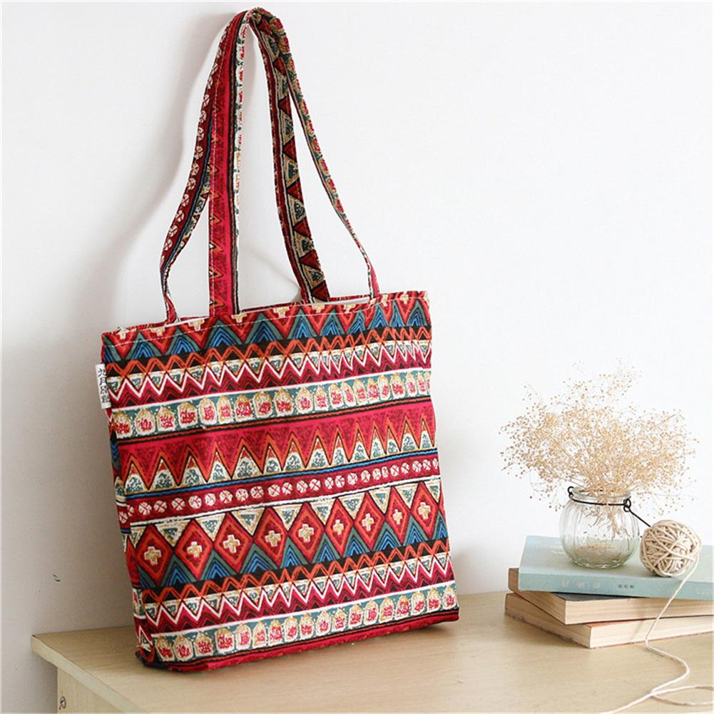 Ethnic Embroidery Crossbody Bag Thick Pure Cotton Portable Messenger Bohemian Shoulder Hand Bag Tote Eco Friendly Simple Bags elsie mochrie simple embroidery