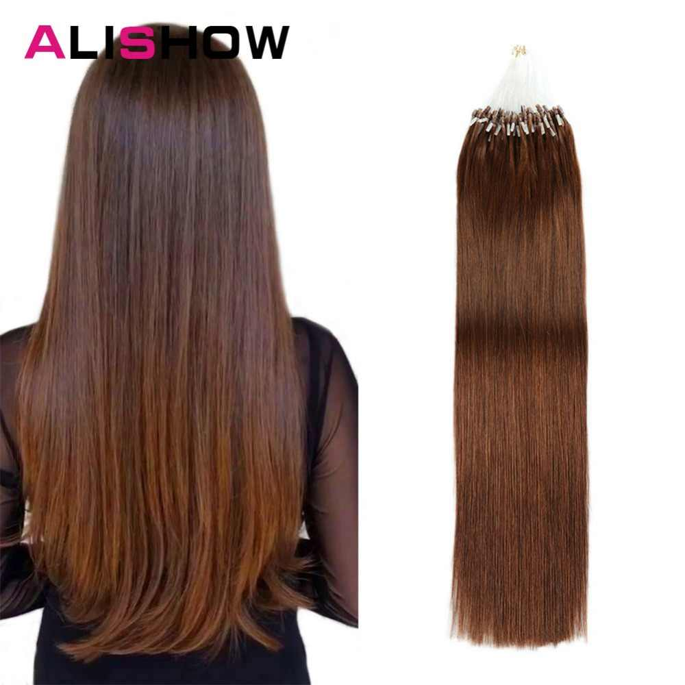 Alishow Straight Loop Micro Ring Hair 1g/s 50g/pack 100% Human Micro Bead Links Remy Hair Straight Extensions #613 Blonde