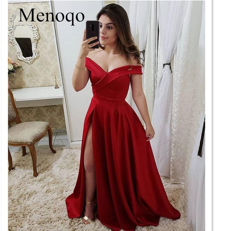 A-line Long Satin   Prom     Dresses   Side Slit Simple Off Shoulder Formal Party   Dress   vestido de festa longo Evening Gowns