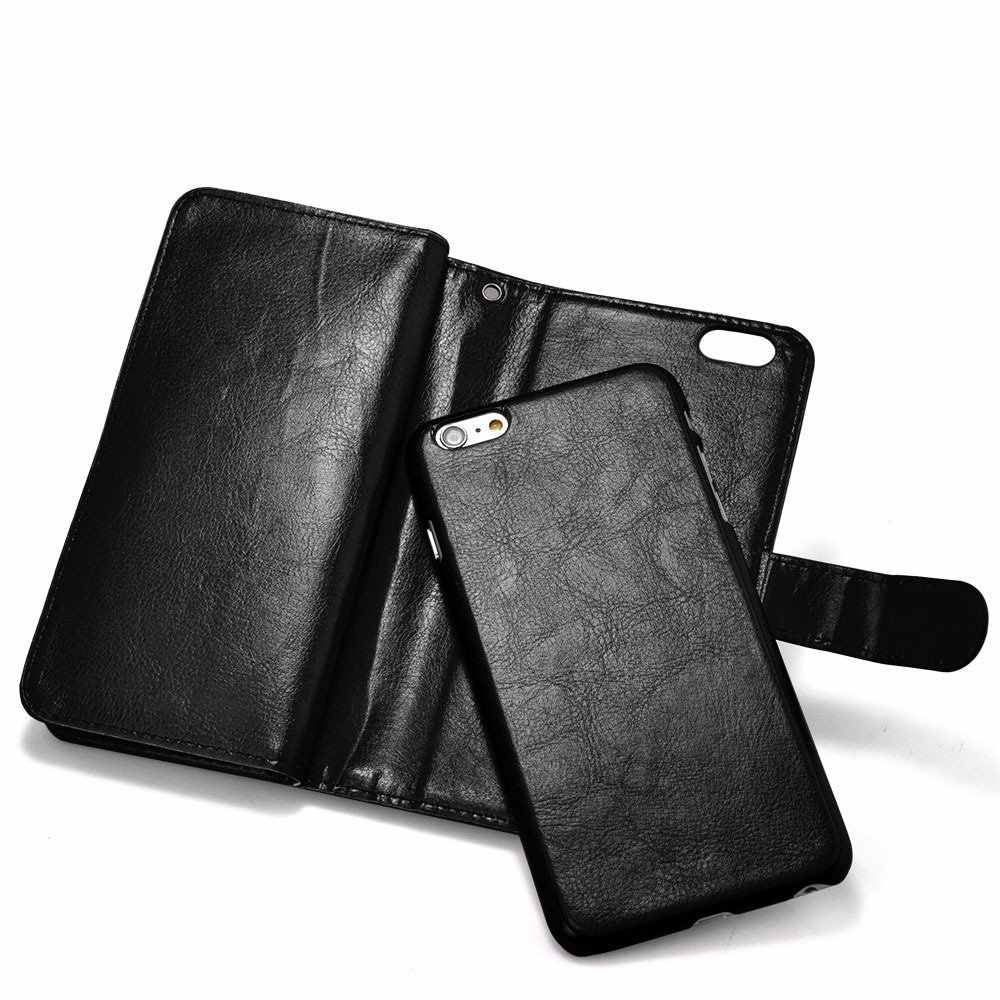 9 Kartensteckplatz! luxus Leder Brieftasche Flip Fall Für Iphone 6 6 S Plus 5,5 inch Stark Fall 2 in 1 Magnetische Bargeld Halter Stehen Capa