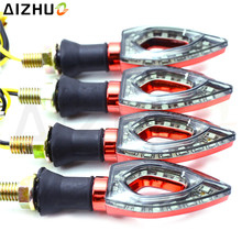4PCS/set 12 LED Motorcycle Turn Signal Light Amber Lights Universal 12V Blinker Indicator Decorative Lamp For Benelli Suzuki KTM