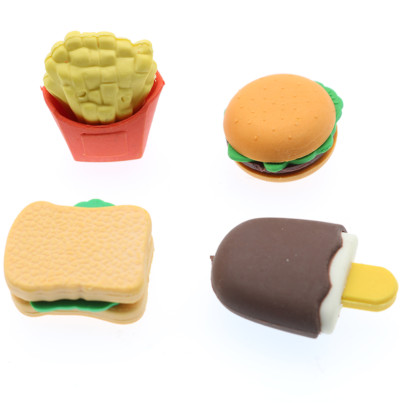 4pcs/Set Of Cute Hawaiian Cake Hamburger Food And Beverage Cola Eraser Set Child Student Gift Stationery School Office Supplies