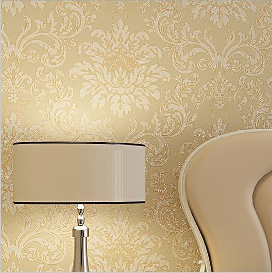 Whole Non Woven Flocking 10m Damask Europe Pattern Wallpaper Rolls Bedroom Living Room