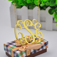2 5 Inch Gold Monogram Necklace Custom 3 Initial Pendent Personalized Big Statement Necklace Large Name