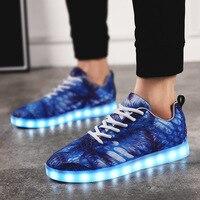 7ipupas New Colour Mesh Luminous Sneakes Usb Charge Kids Boy Girl Colorful Led Lamp Shoes Sky
