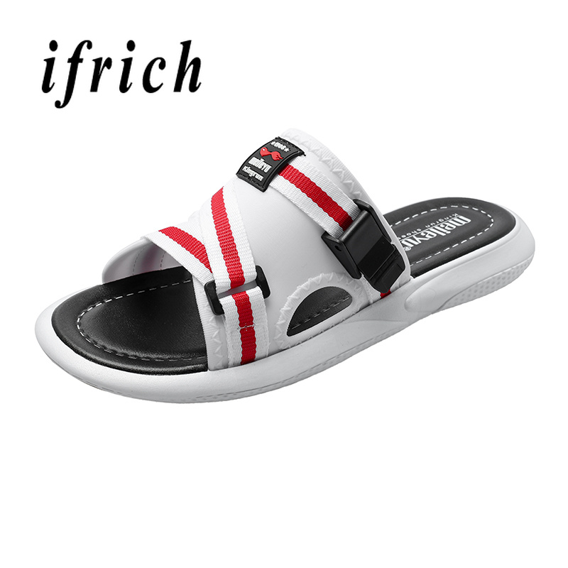 Ifrich Men Summer Fashion Beach Slippers Comfortable Indoor Bathroom Slippers Mens Red Walking Shoe Designer Men Casual Shoes in Slippers from Shoes