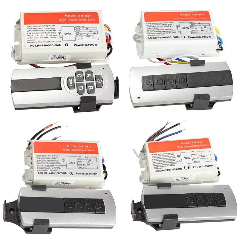1/2/3/4 vías de encendido/apagado 220 V interruptor de Control remoto inalámbrico Control remoto Digital interruptor para lámpara y luz WWO66