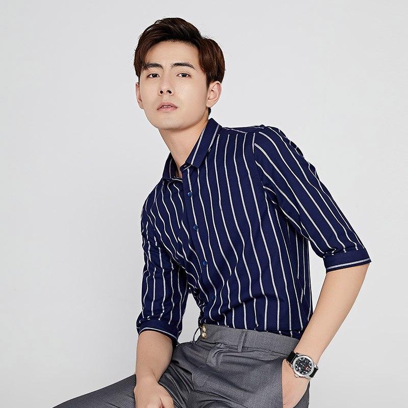 TFETTERS Newest 100% Cotton Men Shirt Half Sleeve Shirt Plus Size Vertical Stripe Regular Fit Summer Casual Clothes For Men