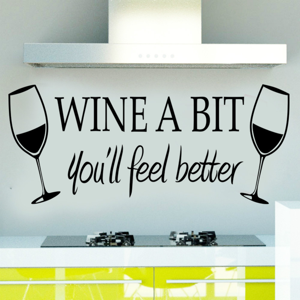 Wine A Bit creative vinyl wall art quote wall sticker 8209 dinning kitchen  removable decor mural art wine romantic store decals-in Wall Stickers from  Home ...