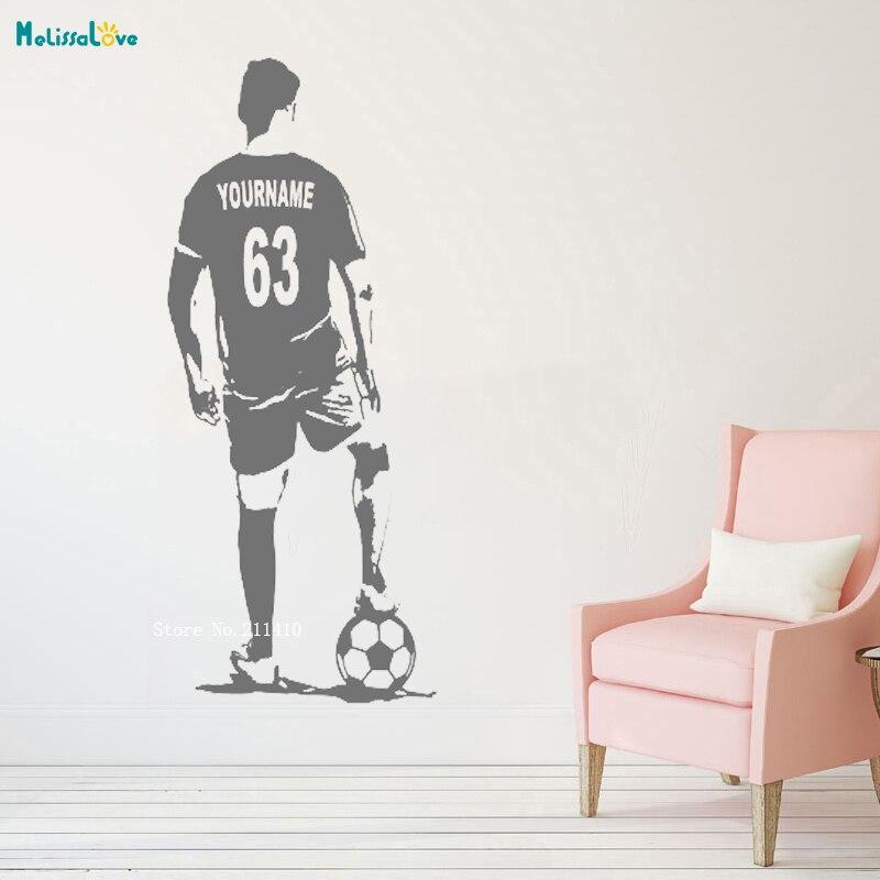Custom Jersey Naam en Nummer Voetbal Atleet Muursticker Home Decor Voetbal Speler Vinyl Declas Kids Jongen Kamer Decals YT1089 2