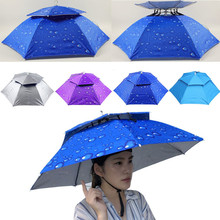 Multicolor Outdoor Foldable Double Umbrella Hat Sun Rain Cap Camping Fishing foldable outdoor sun protection umbrella cap