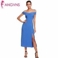 ANGVNS Frauen Sexy Kalt Schulter Formale Kleider Slash Neck Spaghetti-trägern Elegantes Midi Side Split Kleid Femme Vestidos 3XL
